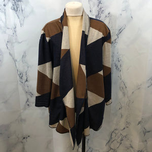 Alfred Dunner Patchwork Pattern Open Front Sweater